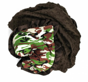 Onyx Arrow Baby Blanket, Camouflage Cotton Print, Brown Minky Dot, Satin Ruffle Trim, Mix and Match