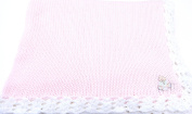 Knitted Hand Crochet Finished Pink Cotton White Chenille Trim Baby Blanket