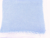 Knitted Hand Crochet Finished Blue Cotton White Trim Baby Blanket
