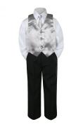 Leadertux 4pc Formal Baby Teen Boy Silver Vest Necktie Set Black Pants Suit S-14