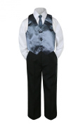 Leadertux 4pc Formal Baby Teen Boy Dark Grey Vest Necktie Black Pants Suits S-14