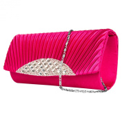 Fancy Anna Womens Cross Body Clutch With Rhinestone Embellishment and Removable Chain Strap