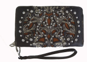 Montana West Ladies Ridem Cowgirl Zippered Wallet Floral Cutouts Coffee