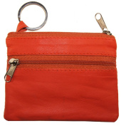 Genuine Leather Coin Change Purse Key Ring Orange #180