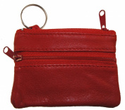 Genuine Leather Coin Change Purse Key Ring Red #180