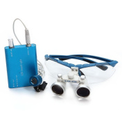 icarekit (TM) Dental Surgical Medical Binocular Loupes + LED Head Light Lamp 2.5X 320mm Blue + Aluminium Box
