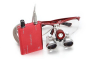 icarekit (TM) Dental Surgical Medical Binocular Loupes + LED Head Light Lamp 2.5X 320mm Red + Aluminium Box