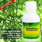Bamboo Mouthwash without alcohol for Adults and Kids - Bamboo Extract 300ml , Alcohol-Free, Teeth Whitening, Fresh Breath, Remove Tartar and Stains from Food, Coffee, Tea, Smoking and Prevent Plaque