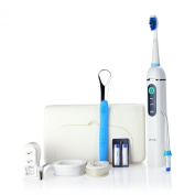 Jetpik JP200 Travel - Rechargeable Electric Dental Flosser with Pulsating Water Jet Power and Sonic Toothbrush
