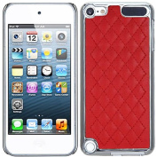 Red Silver Quilted Leather Silver Chrome Case Cover For Apple iPod Touch iTouch 5