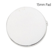 15mm Flat Round Blank Pad Brooch with Safety Pin-20pcs