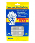 Jewellery Price Tags - Rectangle Silver (1000-Pcs) Jewellery Display