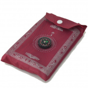 PORTABLE ISLAMIC PRAYER Mat/RUG/WITH COMPASS QIBLA FINDER + BOOKLET/ Weighted Ends/