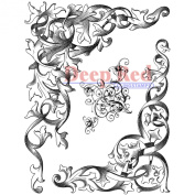 Deep Red Stamps Wrought Iron Corners Rubber Stamp Set