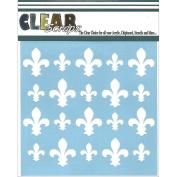 Clear Scraps CSSM6-FLEUR Translucent Plastic Film Stencil, Fleur De Lis, 15cm x 15cm