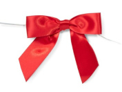 RED 7.6cm Pre-Tied Satin Bowswith 13cm Twist Ties~ 2.2cm ribbon 12 unit, 12 pack per unit.