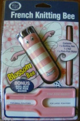 Classic Knit French Knitting Bobbin, 4 Pin, Blossom Pink, With Awl And Pom Pom