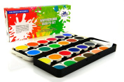 Watercolour paint set - The best artist kit of 24-colour paint - For kids adults beginners and professionals - Brush in the kit - Opaque pan set - Extra light travel case - Create great painting on paper - High Quality.