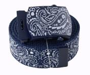 "Canvas Military ""Navy Blue"" Bandana Pattern Web Belt & Buckle 150cm"