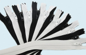 Zipperstop Wholesale YKK® 15cm Zipper YKK #3 Skirt & Dress ~ 6 Black and 6 White