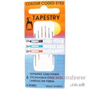 Pony Size 24/ 28 Tapestry Colour-Coded Eye Needles