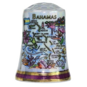 Bahamas Caribbean Map Pearl Souvenir Collectible Thimble agc