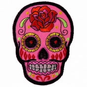 Pink Rose Sugar Skull Awesome Cool Embroidered Iron On Patches #WITH FREE GIFT