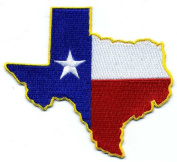 Embroidered Iron On Patch - Texas State Outline with Flag 10cm x 8.9cm Patch