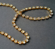 4.5mm Swarovski Crystal Rhinestone Chain by yard, Crystal /Gold Plated Cup Chain, SW-127004