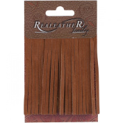 Realeather Crafts SF0203-0271 Deerskin Fringe, 5.1cm by 7.6cm , Saddle Tan, 2-Pack