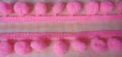 12mm Bright Pink Pom Pom Fringe Ruffle Sew on Colourful Craft Embroidered 18 Yards
