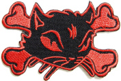 Kitty Cat Cross Bone Logo Lady Rider Biker Punk Rock Heavy Metal Tatoo Patch Sew Iron on Embroidered Sign Badge Costume Clothing