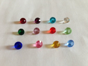 Set of 12 ROUND Crystal 6 mm Birthstones Floating Charms