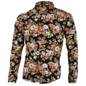 Move & Moving(TM) Men Point Collar Single Breasted Round Hem Floral Prints Shirt (Black) Small