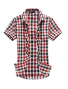 Move & Moving(TM) Mens Casual Stylish Single Breasted Summer 2012 NEW Shirt Tops Red Black M