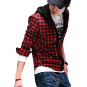 Move & Moving(TM) Mens Cheque Pattern Stylish Button Closure Hoodie Shirt Black Red M