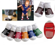 CUTE 6 PACK OF BABY BOYS GIRLS BASEBALL TRAINER STYLE ANTI SLIP GRIPS SOCKS AGE 0-6 MONTHS