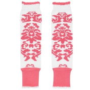 Children's Baby Leg Warmers (White & Hot Pink Damask) Colour