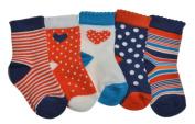5 pairs of Baby Girls Cotton Socks - Variety of sizes