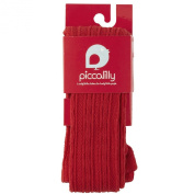 Piccalilly Organic Cotton Red Girls Cable Knit Tights