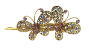 Ladies Chunky Vintage Gold Tone Metal Hair Claw Concord Clip 2 Butterflies Purple