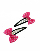 Zac's Alter Ego® Pair of Hot Pink Polka Dot Bows on Snapclip