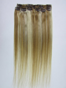 "Clip In Human Hair Extensions Brown Blonde mix Bleach Blonde Human 18""/45 cm 7 Pcs 70g"