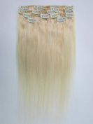 "Clip In Hair Extensions Set 100% Human Hair 18""/45 cm 7 Pcs 70g 60# Light Blonde"