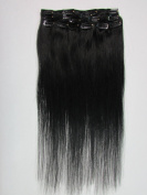 "Clip In Extensions Set 100% Human Hair 24""/60 cm 7 pcs 100g Hair Extension Jet Black"