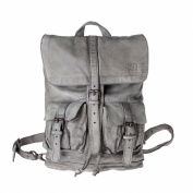 Backpack leather garment-dyed vintage style 2 straps DUDU Ash Grey