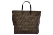 Fendi men's leather bag handbag tote shopping zucca brown