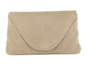 Attractive Large Faux Suede Clutch Bag/Shoulder Bag Wedding Party Occasion Bag