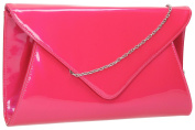 Juliet Envelope Flapover Patent Leather Womens Evening Prom Party Bridal Clutch Bag