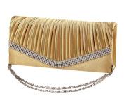 Luxury Diamante Wedding Bridal Clutch Golden Satin Pleated Handbag Bag